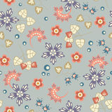 Floral pattern on grey background Stock Photo