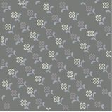 Floral pattern. Grey background with abstract symmetric white and purple flowers, blue leaves Royalty Free Stock Photo