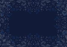 Floral pattern with grey flowers and foliage over navy blue background stock photo