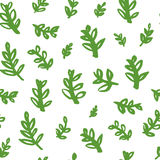Floral pattern with hand drawn leaves. Design elements with ink and brush. Royalty Free Stock Image