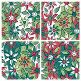 Floral Pattern_Holiday. A seamless, repeating free-form floral pattern in four holiday colorways Royalty Free Stock Photography
