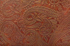 Floral Pattern In Brown Leather Royalty Free Stock Images