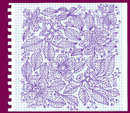 Floral pattern with ink on paper Royalty Free Stock Photo