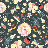 Floral pattern with insects Stock Images