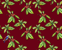 Floral pattern with Japanese laurel and a bird. stock illustration