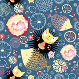 Floral pattern with kittens and fish Stock Images