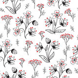 Floral pattern with leaves and flowers. Ornamental herb branch s Royalty Free Stock Photo
