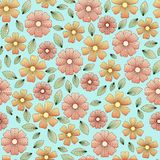 Floral pattern with leaves and petals Stock Images