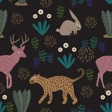 Floral pattern with leopard, rabbit, and deer. Seamless cute childish drawing. Kids and children hand drawn style colorful vector vector illustration
