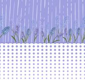 Floral pattern with lilac flowers and a strip of optical circles. Vector royalty free illustration