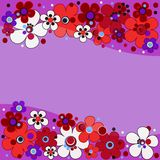 Floral pattern in lilac tones with red flowers Royalty Free Stock Images