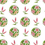 Floral pattern with lilies Royalty Free Stock Photo
