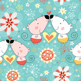 Floral pattern with lovers mice. Seamless floral pattern with fun lovers mice on a blue background vector illustration