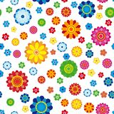 Floral pattern made in flowers on a white background, seamless. Vector illustration Royalty Free Stock Photos