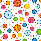 Floral pattern made in flowers on a white background, seamless. Vector illustration Royalty Free Stock Photo