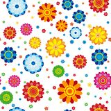 Floral pattern made in flowers on a white background, seamless. Vector illustration Royalty Free Stock Photography