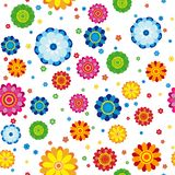 Floral pattern made in flowers on a white background, seamless. Vector illustration Stock Photography