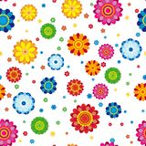 Floral pattern made in flowers on a white background, seamless. Vector illustration Stock Photos