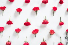 Free Floral Pattern Made Of Red Roses Flowers On White Marble Background. Flat Lay Style Floral Composition, Top View Mockup. Mother`s Stock Images - 157687314