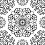 Floral pattern of mandalas. Oriental seamless pattern of mandalas. Vector black and white floral background. Template for textile, carpet, wallpaper, shawls Stock Image
