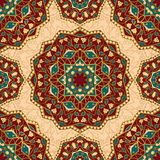 Floral pattern of mandalas. Oriental seamless pattern of mandalas. Vector rich ornament with floral elements. Template for textile, carpet, wallpaper, shawls Royalty Free Stock Image