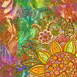 Floral Pattern on Oil Paint Painting Background Royalty Free Stock Photos