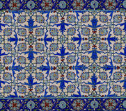 Floral pattern on old  turkish tiles Royalty Free Stock Photos