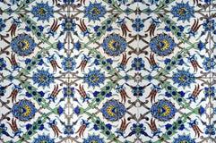 Floral pattern on old  turkish tiles Stock Photo