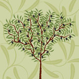 Floral pattern with an olive tree. Vector illustration Royalty Free Stock Images
