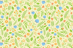 Floral pattern with orange and blue flowers. Seamless floral pattern with orange and blue flowers and green leaves on sandy background Royalty Free Stock Photo