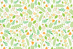 Floral pattern with orange flowers and berries. Seamless floral pattern with orange flowers and green leaves on white background Royalty Free Stock Photo