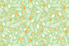 Floral pattern with orange flowers. Seamless floral pattern with orange flowers and white leaves on light green background Royalty Free Stock Image