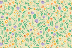 Floral pattern with orange and light purple flowers. Seamless floral pattern with orange and light purple flowers and green leaves on beige background Stock Photos