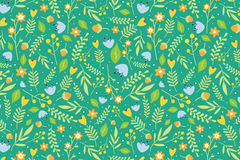 Floral pattern with orange and sky blue flowers. Seamless floral pattern with orange and sky blue flowers and green leaves on green background Stock Image