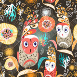 Floral pattern with owls Royalty Free Stock Image