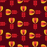 Floral pattern with petal on a brown background Stock Images