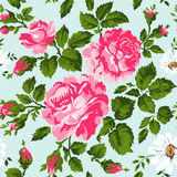 Floral pattern with pink roses. Vector Floral Background. Easy to edit. Perfect for invitations or announcements. Royalty Free Stock Photography