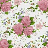 Floral pattern with of pink roses Stock Photos
