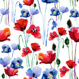 Floral pattern with poppies. Watercolor. Royalty Free Stock Photos