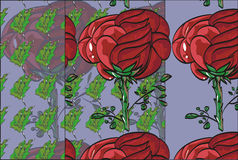 Floral pattern repeat flower bud on a stem roses. Sample drawn  pattern with large red rose and green leaves small. Violet background. Pattern wallpaper Stock Photography