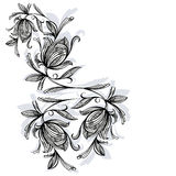 Floral pattern, rose black and white Stock Photography