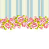 Floral pattern with roses on pink and blue background Royalty Free Stock Photo
