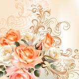 Floral   pattern with roses in watercolor style Stock Images