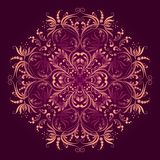 Floral pattern with round damask ornament Royalty Free Stock Photos