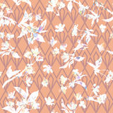 Floral pattern sakura  on geometric ornament. Royalty Free Stock Images