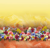 Floral pattern on seamless cloth. Flower bouquet. Fabric Royalty Free Stock Image