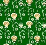 Floral pattern, seamless, Golden flowers on a green background. Royalty Free Stock Image