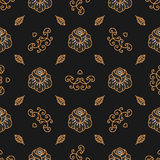 Floral pattern seamless, Golden Rose linear icons, Trendy hipster background Stock Photography