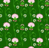 Floral pattern, seamless, green background, pink flowers. Royalty Free Stock Image