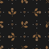 Floral pattern seamless, minimal background. Golden icons line roses, heart Stock Image
